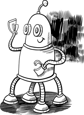 Black and White Cartoon Illustration of Robot or Droid Fantasy Character Coloring Book