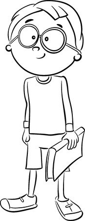 school age: Black and White Cartoon Illustration of Elementary School Age Boy with a Book Coloring Book Illustration