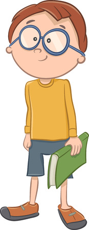elementary age: Cartoon Illustration of Elementary School Age Boy with a Book Illustration