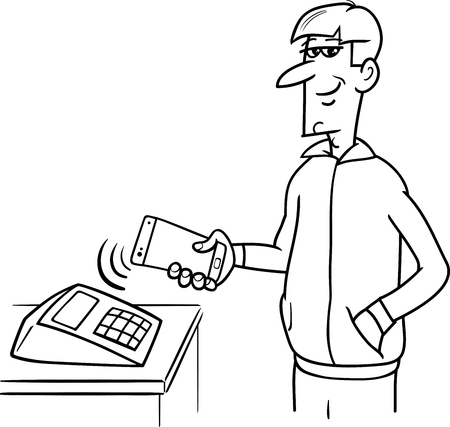 business phone: Black and White Cartoon Illustration of Man Paying Wireless with his Smart Phone Illustration