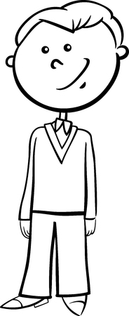 school age: Black and White Cartoon Illustration of Elementary School Age Boy Coloring Book