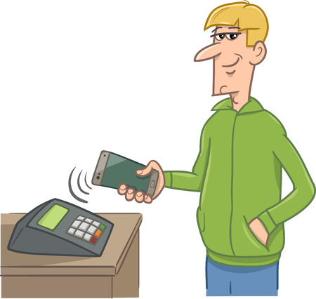 mobile cellular: Cartoon Illustration of Man Paying Wireless with his Smart Phone