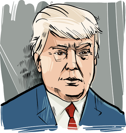 donald: Drawing Caricature Portrait of Donald Trump USA Presidential Candidate 2016 Editorial