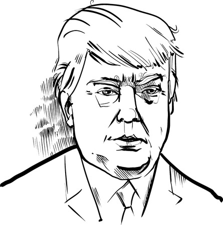 donald: Black and White Drawing Caricature Portrait of Donald Trump USA Presidential Candidate 2016