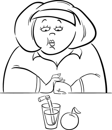 humorous: Black and White Cartoon Humorous Illustration of Unhappy Woman on Diet with her Lunch