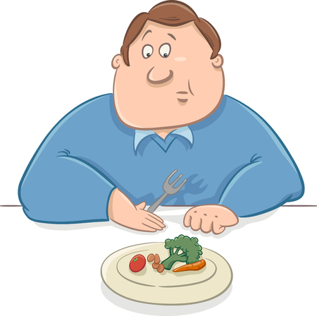 eating lunch: Cartoon Humorous Illustration of Unhappy Man on Diet Eating his Lunch Illustration