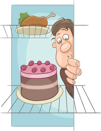 man eater: Cartoon Humorous Illustration of Hungry Man on Diet Looking into Fridge