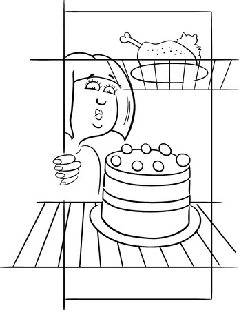 Zwart-wit Cartoon Humoristische Illustratie van Gourmand vrouw op dieet zoekt in de koelkast Vector Illustratie