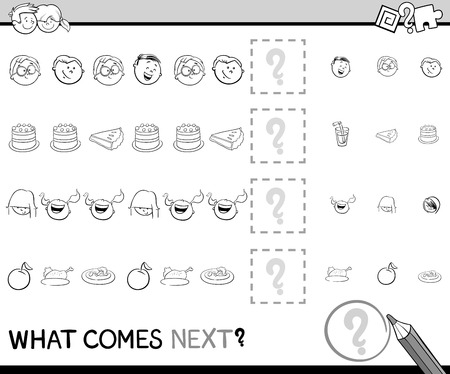 next to: Black and White Cartoon Illustration of Completing the Pattern Educational Activity Task for Preschoolers with Kids and Food Objects Coloring Book