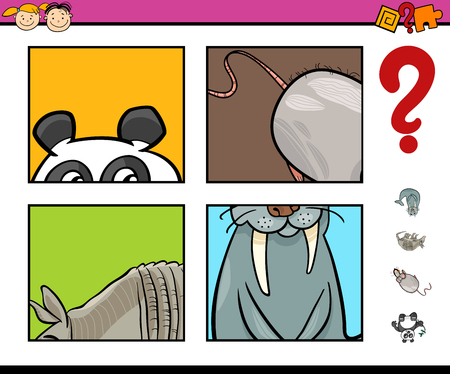 guessing: Cartoon Illustration of Educational Activity Task of Guessing Animals for Preschool Children