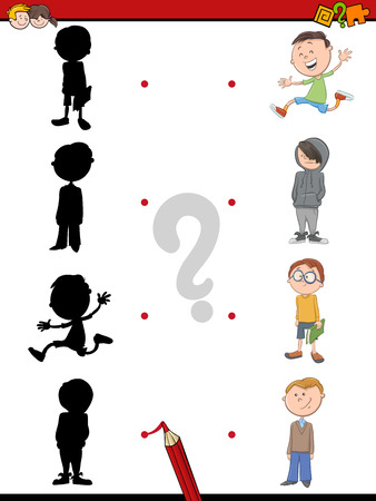 for boys: Cartoon Illustration of Find the Shadow Educational Activity Game for Children with Kid Boys Illustration