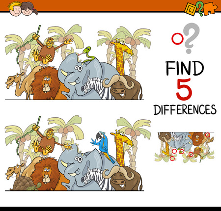 safari animal: Cartoon Illustration of Finding Differences Educational Activity Task for Children with Safari Animal Characters