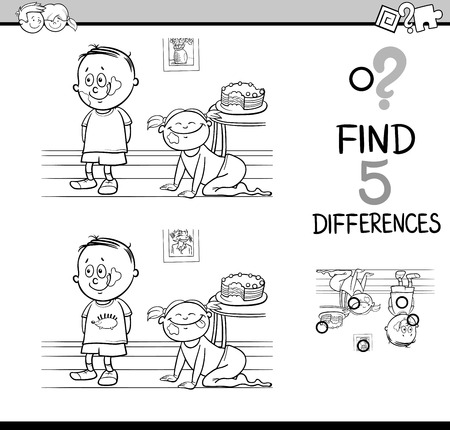 glutton: Black and White Cartoon Illustration of Finding Differences Educational Activity Task for Kids with Child Characters for Coloring Book