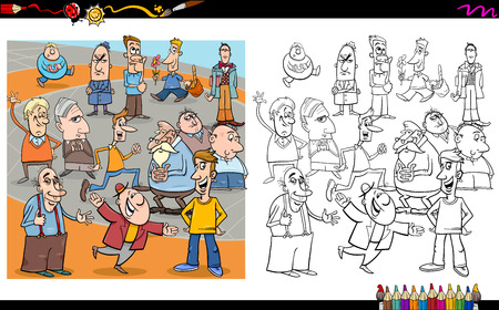 crowd happy people: Cartoon Illustration of People Characters Crowd on the Street Coloring Book Activity