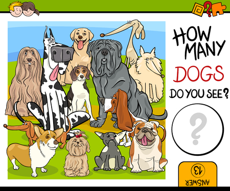 Cartoon Illustration of Educational Counting Task for Children with Purebred Dog Characters