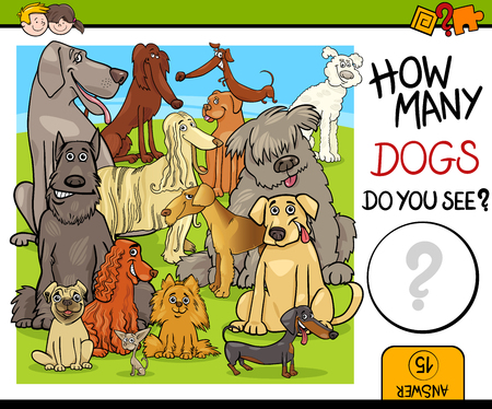 how to: Cartoon Illustration of Educational Counting Activity Task for Children with Purebred Dog Characters