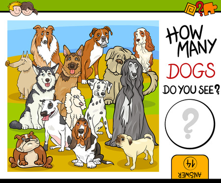 guess: Cartoon Illustration of Educational Counting Game for Children with Purebred Dog Characters Illustration