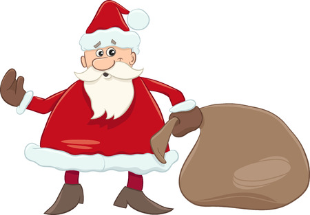 december holidays: Cartoon Illustration of Santa Claus with Sack of Gifts on Christmas
