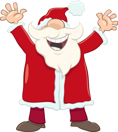 christmas time: Cartoon Illustration of Happy Santa Claus on Christmas Time