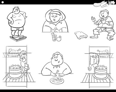 man eater: Black and White Cartoon Humorous Illustration of Overweight People Characters on Diet Illustration