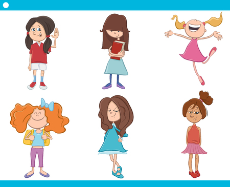 elementary schools: Cartoon Illustration of School Age Girls Children or Teenager Characters Set Illustration