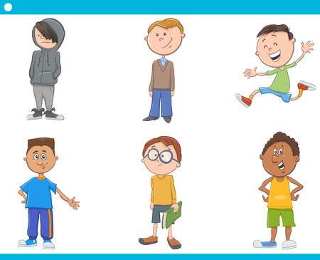 school boys: Cartoon Illustration of School Age Boys Children or Teenager Characters Set Illustration