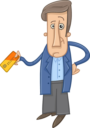 Cartoon Illustration of Man with Credit or Payment Card