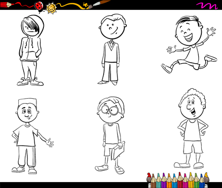 school age: Black and White Cartoon Illustration of School Age Boys Children or Teenager Characters Set for Coloring Book