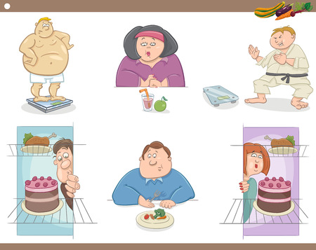 man eater: Cartoon Humorous Illustration of Overweight People Characters on Diet