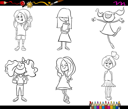 school age: Black and White Cartoon Illustration of School Age Girls Children or Teenager Characters Set for Coloring Book
