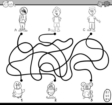 black boys: Black and White Cartoon Illustration of Educational Paths or Maze Puzzle Activity with Children Boys and Pets Coloring Book Illustration
