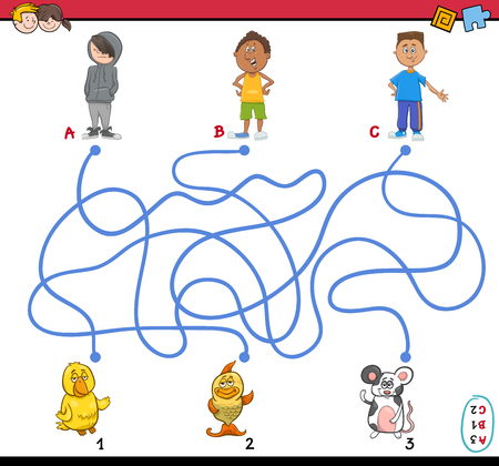 riddles: Cartoon Illustration of Educational Paths or Maze Puzzle Activity with Children Boys and Pets