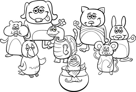 hamster: Black and White Cartoon Illustration of Little Cute Pet Characters Group Coloring Book