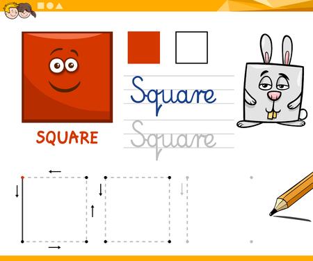 square shape: Educational Cartoon Illustration of Square Basic Geometric Shape for Children