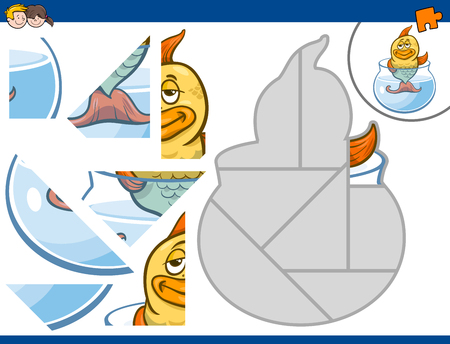 fish animal: Cartoon Illustration of Educational Jigsaw Puzzle Activity for Children with Gold Fish Animal Character
