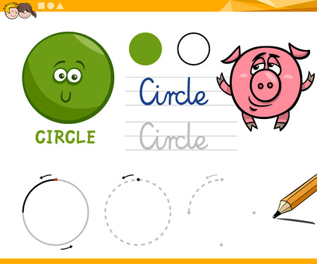 basic: Educational Cartoon Illustration of Circle Basic Geometric Shape for Children