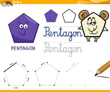 basic shape: Educational Cartoon Illustration of Pentagon Basic Geometric Shape for Children Illustration