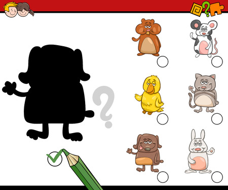 task: Cartoon Illustration of Educational Shadow Activity Task for Children with Pet Animal Characters