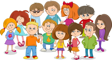 school age: Cartoon Illustration of Elementary School Age Children Characters Group