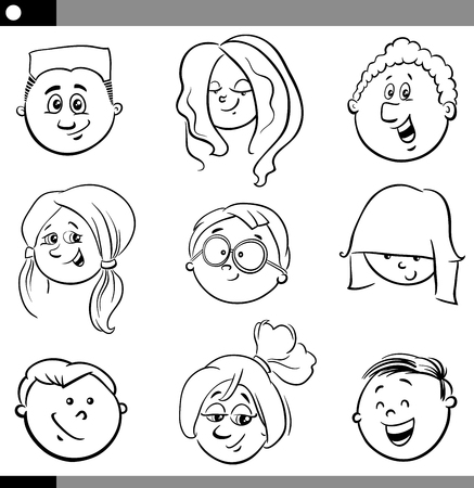 girl face: Black and White Cartoon Illustration of Funny Children or Teen Characters Heads Set