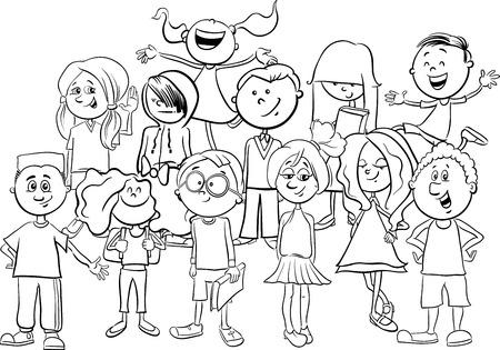 grupos de personas: Ilustración de dibujos animados en blanco y negro de niños en edad escolar primaria o personajes adolescentes Grupo Coloring Book Vectores