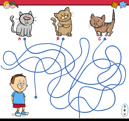 child boy: Cartoon Illustration of Educational Paths or Maze Puzzle Activity with Child Boy and Kittens