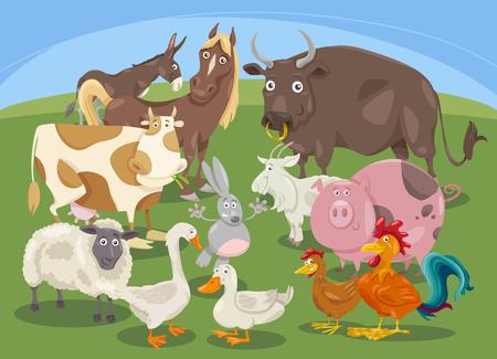 bullock: Cartoon Illustration of Farm Animal Characters Group