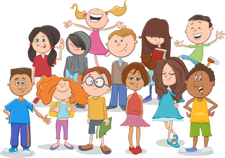 kid smile: Cartoon Illustration of Elementary School Age Children or Teen Characters Group