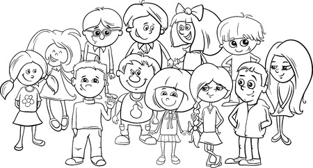 elementary: Black and White Cartoon Illustration of Elementary School Age Children Characters Group Coloring Book