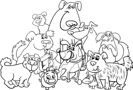 group of pets: Black and White Cartoon Illustration of Dogs Animal Characters Group Coloring Book Illustration