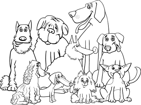 newfoundland: Black and White Cartoon Illustration of Purebred Dogs Animal Characters Group Coloring Book Illustration