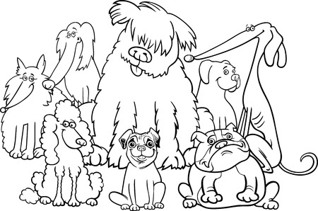 spitz: Black and White Cartoon Illustration of Cute Purebred Dogs Animal Characters Group Coloring Book Illustration