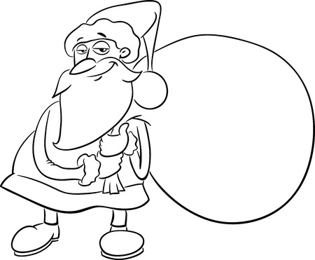 black and white cartoon illustration of santa claus with sack of presents on christmas for coloring