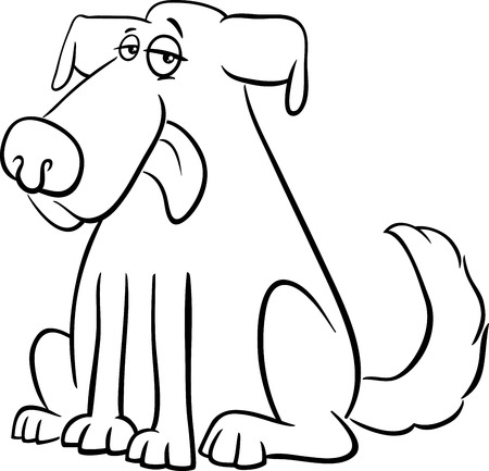 tongues: Black and White Cartoon Illustration of Dog Animal Character Coloring Book Illustration